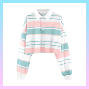 Pastel stripes vintage retro rugby polo long sleeve crop top