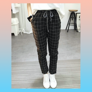 Plaid relaxed tapered trousers pants
