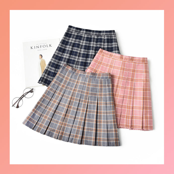 Plaid high-waisted and pleated harajuku tennis skirts