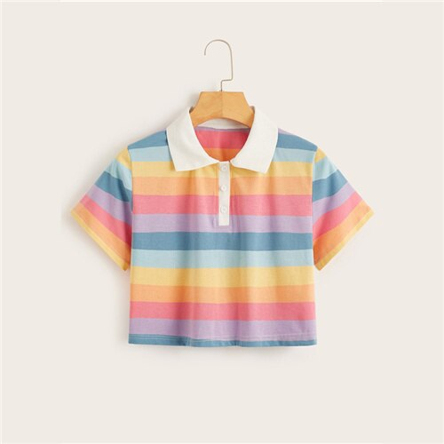 Soft Rainbow Collar Tee