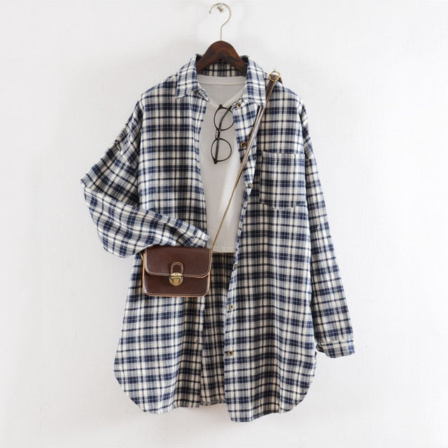 Oversized Plaid Blouse