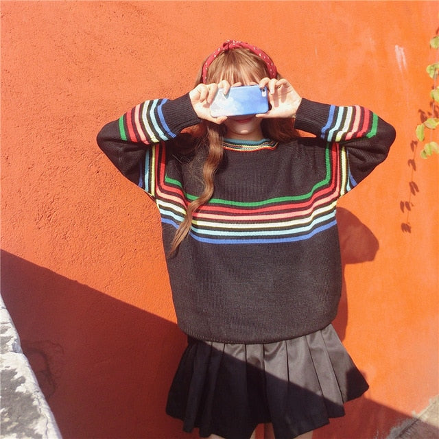 Colorful Striped Oversized Sweater
