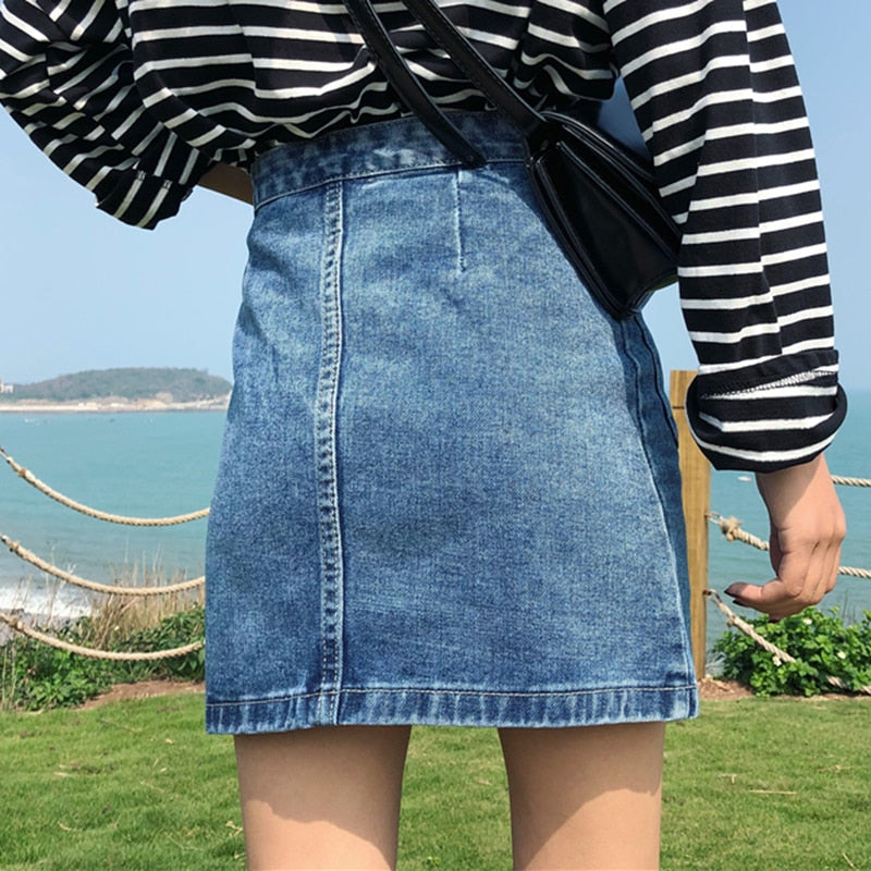High Waist Zipper Denim Skirt