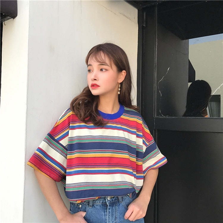 Vintage Patchwork Striped T-shirt