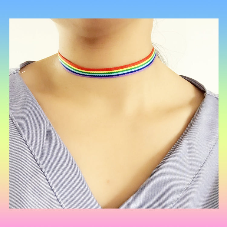 LGBT pride rainbow choker necklace