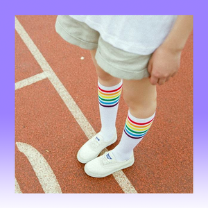 Rainbow stripes 90s throwback crew socks