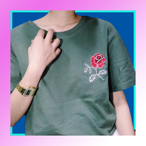 Army green embroidered rose t-shirt cute