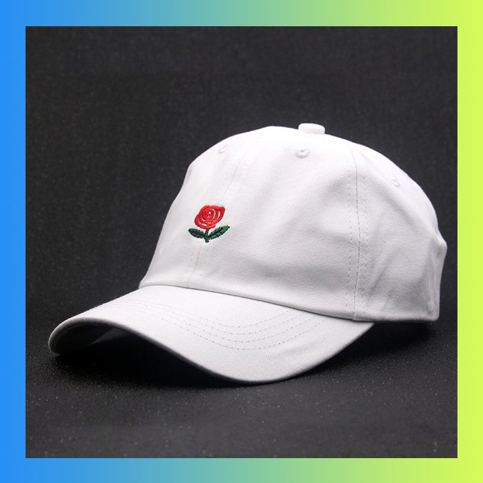 Embroidered rose dad hat floral
