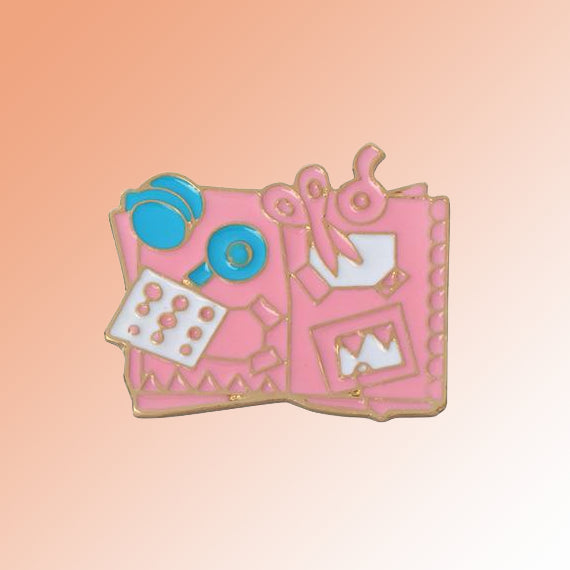 Scrapbook enamel lapel pin