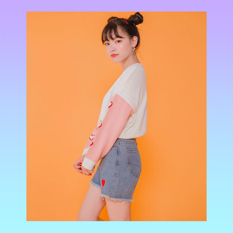 Kawaii hearts embroidered denim mom jeans shorts