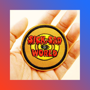 Sick sad world iron on patch cynical nihilism