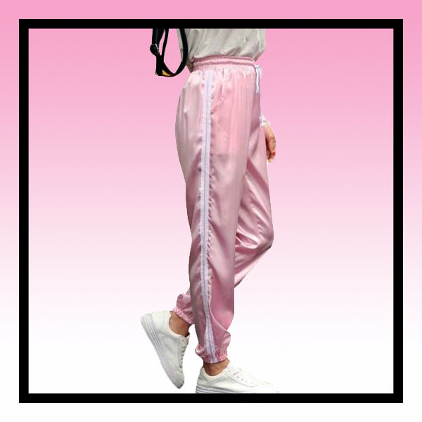 Satin silk nylon glossy striped joggers pastel