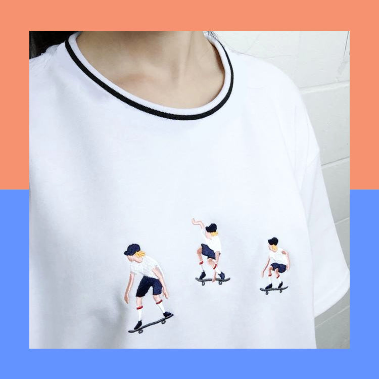 White embroidered skater skating boy oversize harajuku shirt