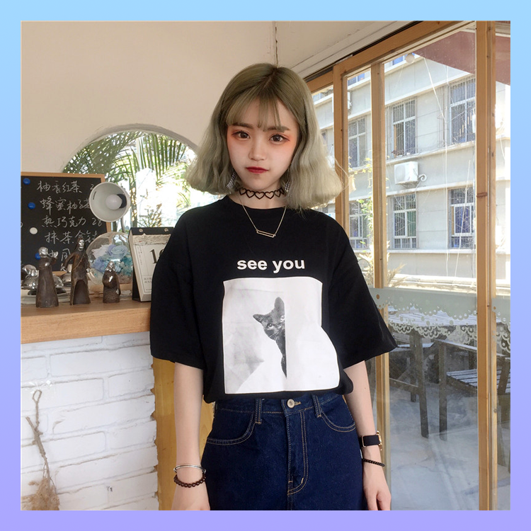 Cute harajuku cat shirt