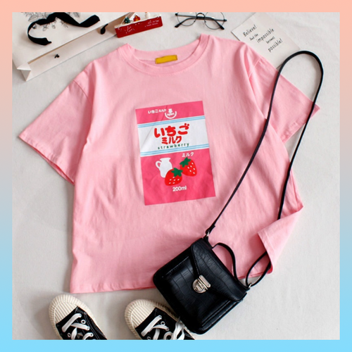 STRAWBERRY MILK T-SHIRT (2 colors -