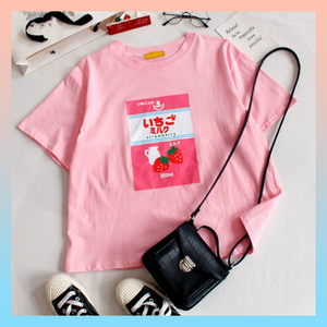 "STRAWBERRY MILK T-SHIRT (2 colors - ""OVERSIZE"")"