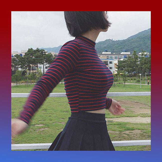 Striped crop top mockneck mock turtleneck shirt