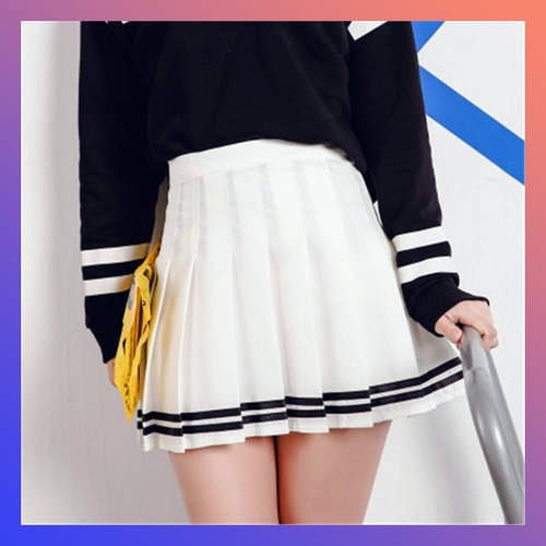 HIGH WAISTED STRIPED PLEATED SKIRT (2 colors)