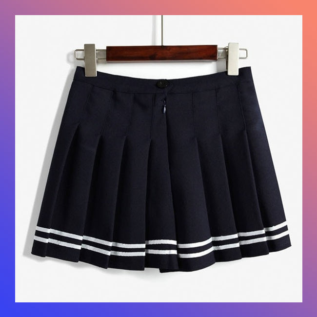 HIGH WAISTED STRIPED PLEATED SKIRT (3 colors)