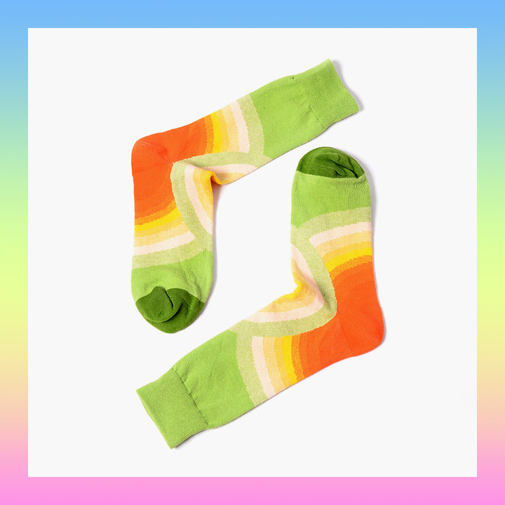 Colorful colorful sunrise pattern retro socks