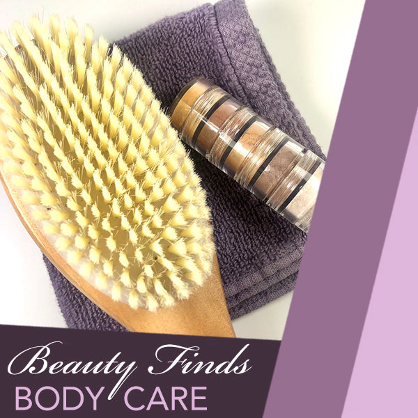 body dry brush, purple washcloth and eyeshadow palette