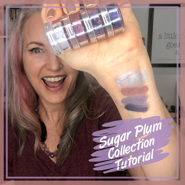 lisa holding sugar plum stacker with the colors swatched on wrist