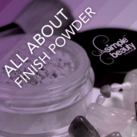 pot of powder makeup open, next to jars lid and gemstones