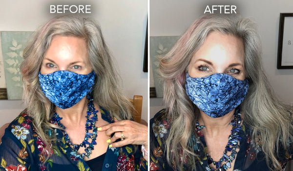 eye makeup before and after with protective face mask - simplebeautyminerals.com