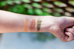 Golden Glam, Velvet, Olive Mineral Eyeshadows | Simple Beauty Minerals