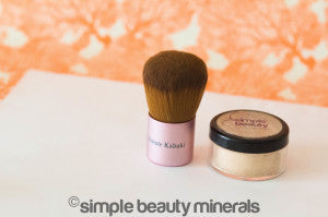 mineral foundation + kabuki brush or Flat Top Buffer Brush | Simple Beauty Minerals