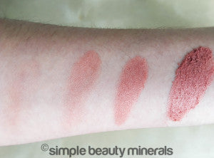 Simple Beauty Minerals - mineral cheek colors and blushes swatches