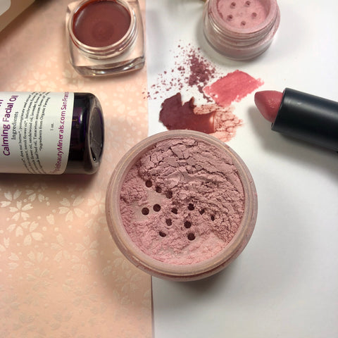 rosy makeup look featuring ballet slipper radiance powder