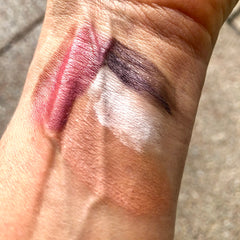swatch of eyeshadows and lipstick