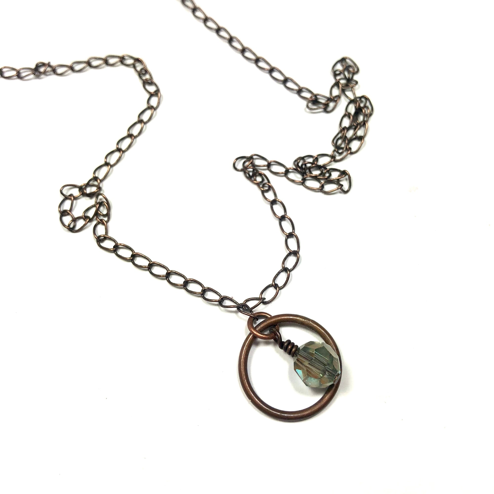 copper chain crystal pendant necklace