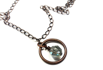 copper chain crystal pendant necklace close up