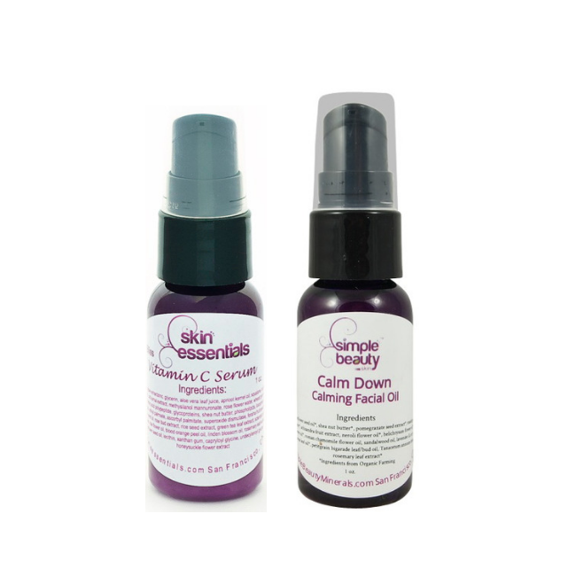 2 serum bottles vitamin c serum and calm down facial oil