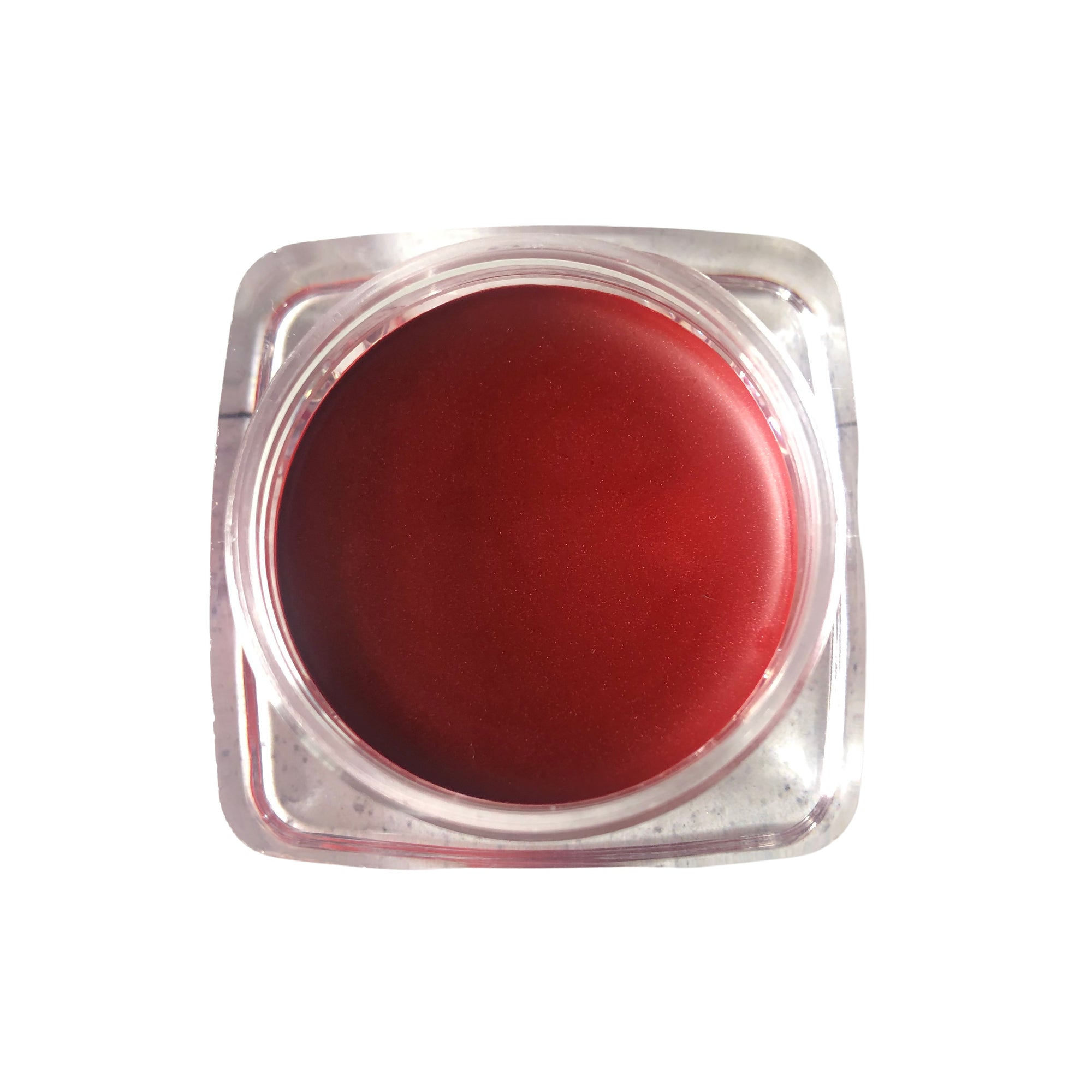 open pot of scarlet balm red lipstick