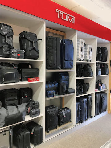 Tumi luggage display in Newton store