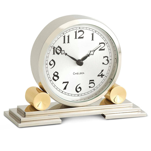 Mayfair Clock in Brass & Nickel