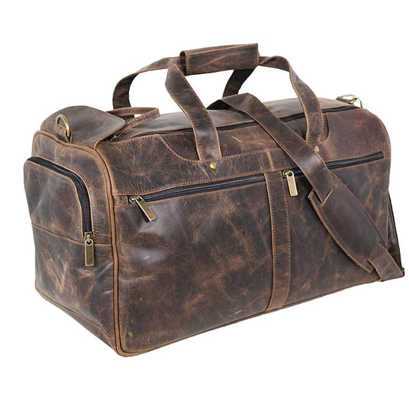 Distress Leather: EZ Open Duffel