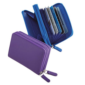 ILI New York Leather RFID Protective Zip Accordion Card Case