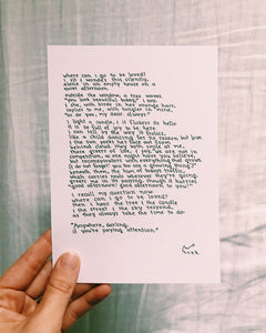 Where Can I Go to Be Loved? // Poem