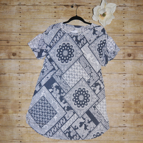 Gray Geo Pattern Dress