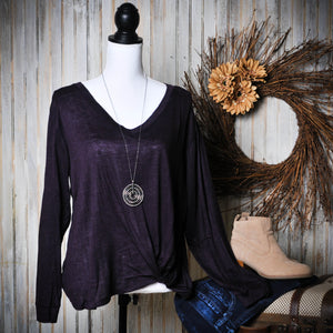Plum V Neck Sweater with Knot Detail