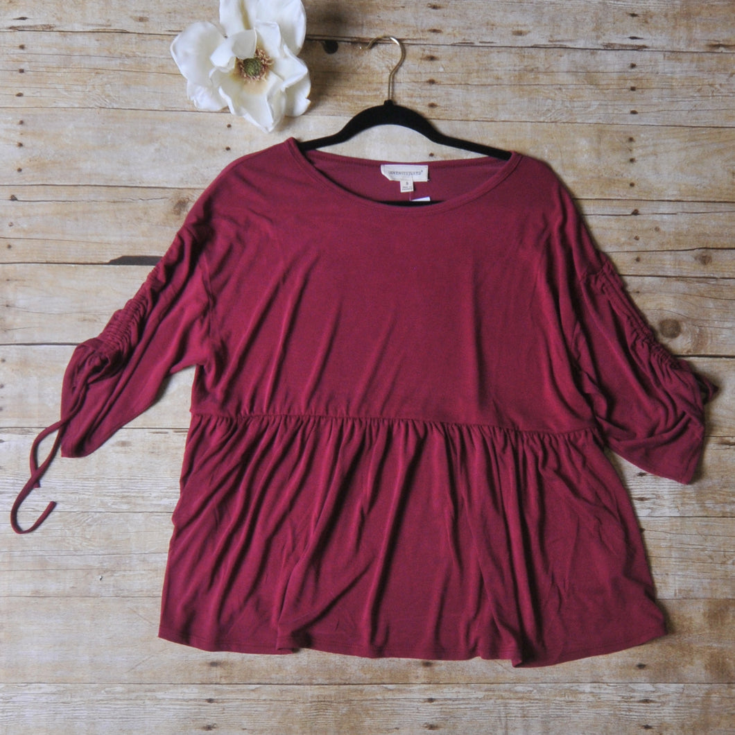 Coverstitched Mulberry Super Soft Babydoll Top