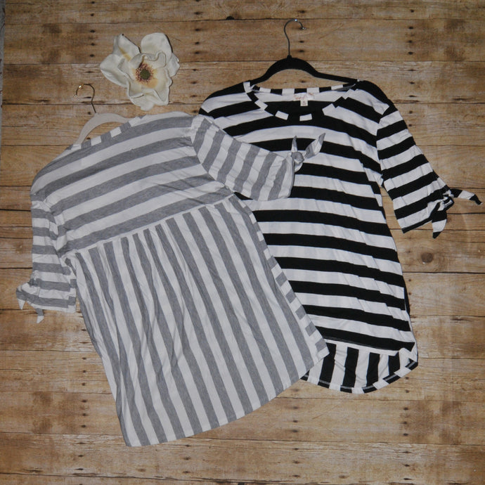 Misia Black and White Stripe Top with Babydoll back