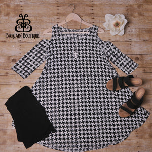 Black Houndstooth Cold Shoulder Dress Tunic