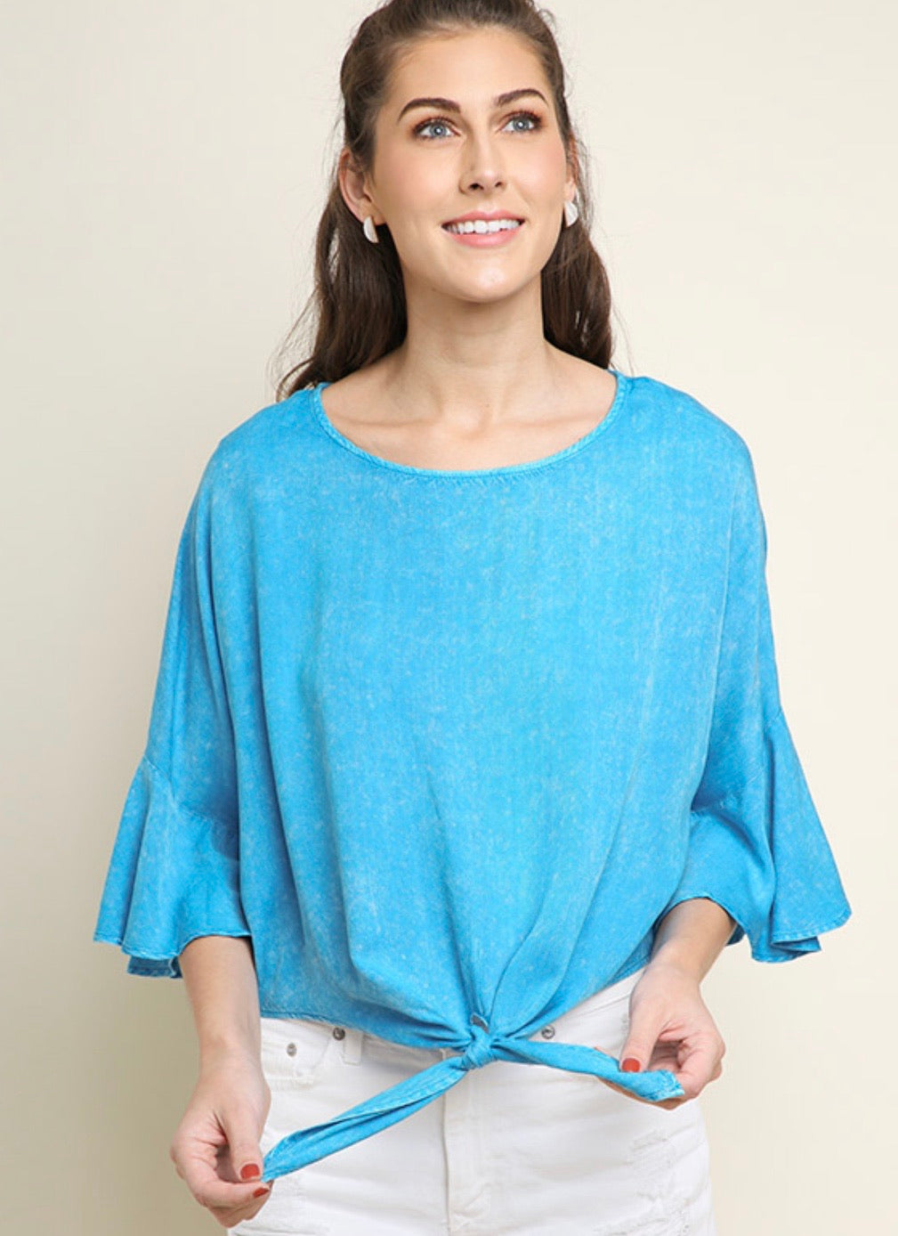 Umgee Turquoise Front Knot Top