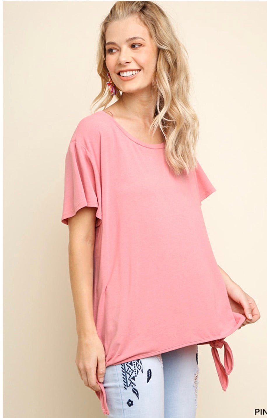Umgee Pink Double Knot Top
