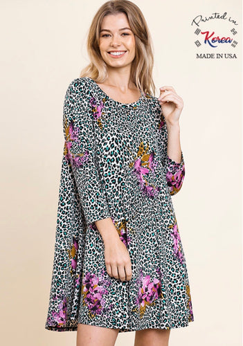 Umgee Cheetah and Turquoise Floral Dress
